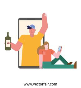 young couple celebrating with wine bottle in smartphone