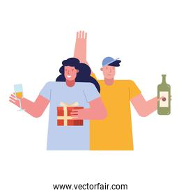 young couple celebrating with wine drink and gift
