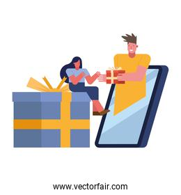 young couple celebrating with gifts in smartphone