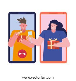 young couple celebrating with gifts presents in smartphones