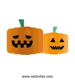 pumpkins fruits faces isolated icons