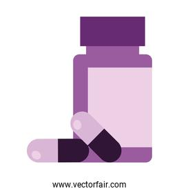 bottle with capsules drugs icon