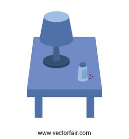 lamp light appliance in table with pills
