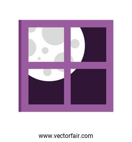 window house view with full moon