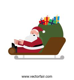 christmas santa claus with gifts bag in sled