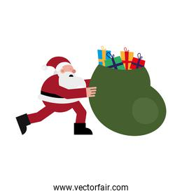 christmas santa claus running with gifts bag