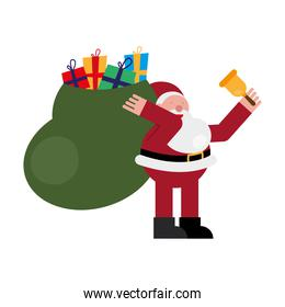 christmas santa claus with bell and gifts bag