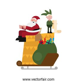 christmas santa claus and elf in gift