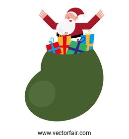 christmas santa claus with gifts bag