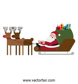 christmas santa claus with sled and reindeer