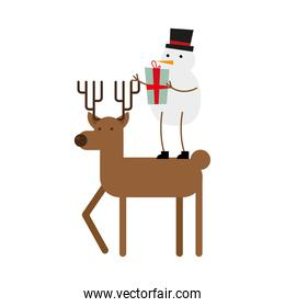 snowman with gift and reindeer