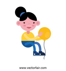 cute little girl seated playing with balloon helium