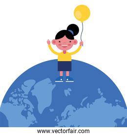 cute little girl with balloon helium in earth planet