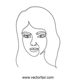 line woman face with a white background