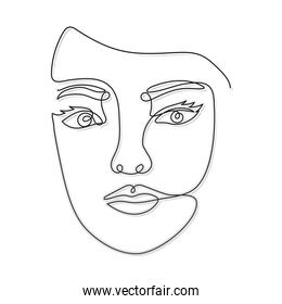 line woman face with two eyes