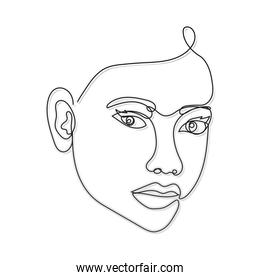 line woman face with two eyes and noise on a white background