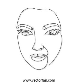 line woman face with two eyes and noise over a white background