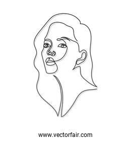 line woman face with a mouth on a white background