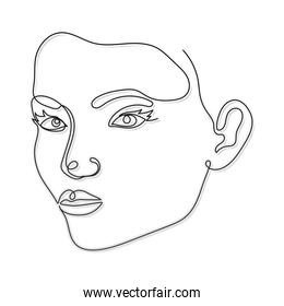 line woman face with a mouth and two eyes on a white background