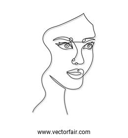 line woman face with a mouth and two eyes in a white background