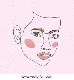 line woman face with two eyes in a pink background