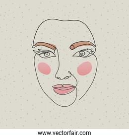 line woman face on a gray background