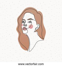 line woman face with hair on white background