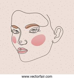 line woman face with lips