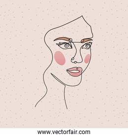 line woman face with lips on a pink background