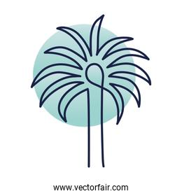 Palm tree with stem, one line style