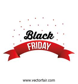 Black friday lettering with a red ribbon