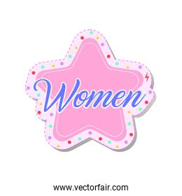 woman lettering on a pink star feminist stickers