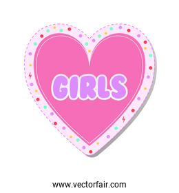 girls lettering on a heart feminist stickers