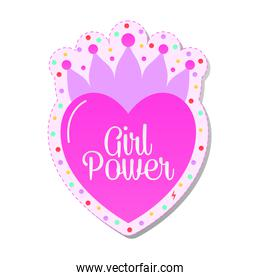 girl power lettering on a heart with crown feminist stickers