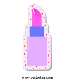 pink lipstick with colored circles stickers