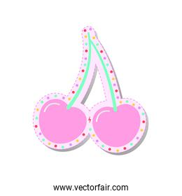 pink fresh cherry with colored circles stickers