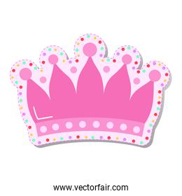 pink crown with colored circles stickers