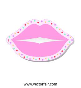 pink lip with colored circles feminist stickers