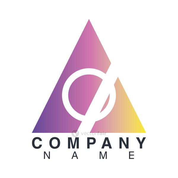 company name emblem with purple triangle