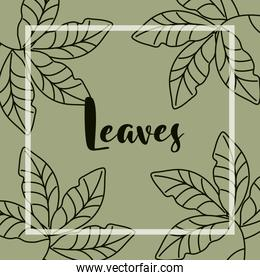 leaves line style, handwritten text with branches leaf nature background