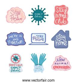 new normal, after coronavirus covid 19, set with icons motivation and positive messages