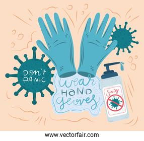 new normal, after coronavirus covid 19, wear hands gloves, sanitize hands and keep calm
