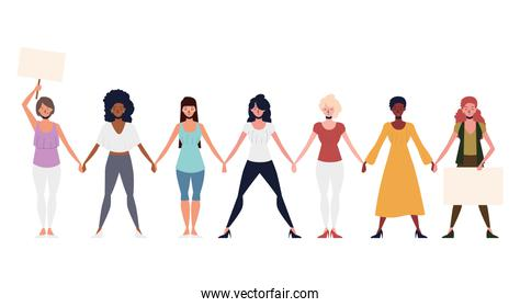 girl power, group women characters holding hands