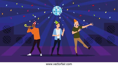 people happy celebrating party with disco ball and confetti