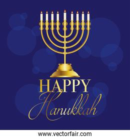 happy hanukkah celebration card with golden chandelier and lettering