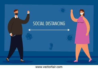 couple practicing social distancing characters