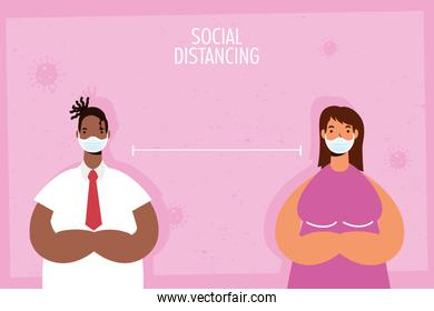 interracial couple practicing social distancing characters