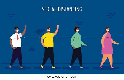 interracial people group practicing social distancing characters