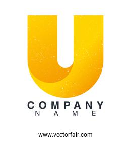 company name emblem with letter u