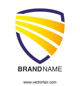 brand name emblem in shield